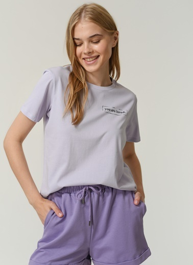 People By Fabrika Kadın Yazı Baskılı Tişört PFKSS21TS0024 Lila